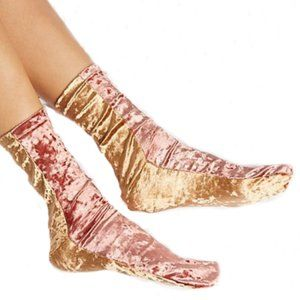 Free People Pink Gold Colorblock Velvet Socks